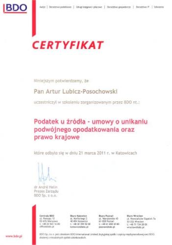 Certyfikat BDO